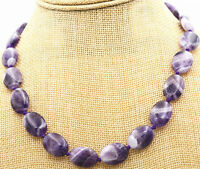 """HOT! Natural Brazilian 13x18mm Amethyst oval gemstone necklace knot 18 """"AAA"""