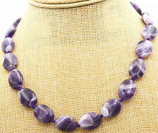 "HOT! Natural Brazilian 13x18mm Amethyst oval gemstone necklace knot 18 ""AAA"