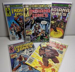 The Further Adventures of Indiana Jones # 1 2 5 7 19 (Marvel 1983 comic lot/run)