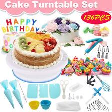 136PCS DIY Baking Cake Rotating Stand Turntable Set Nozzles Decorating Supplies