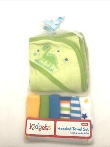 Kidgets Hooded Towel Set w/6 Washcloths Green Dinosaur Print NWT