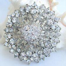 Beautiful Bridal Flower Brooch Pin Clear Rhinestone Crystals 00004000  Art Deco Ee03326C1