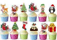 25 Xmas Christmas Santa Tree Cup Cake Toppers Snowman Card Wafer Edible STAND UP