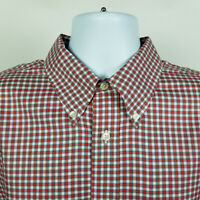 Brooks Brothers Non Iron Red Blue Check Plaid Mens Dress Button Shirt Size XL