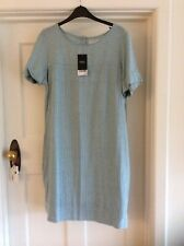 Next Pale Mint Blue Stripe Linen Dress Sz 16 Bnwt
