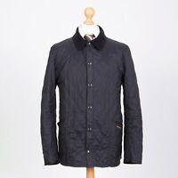 Barbour Men's Lightweight Liddesdale Black Quilted Jacket Size L Corduroy Collar
