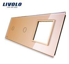 Glasblende Gold C1/C1/SR für 2x Touch Lichtschalter und 1x Steckdose Glas Livolo