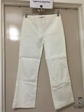 Women's Simonetta White Trousers Pants With Beads On Hems Size 12 Made In Italy