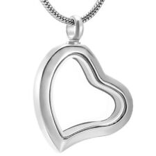 Heart Shape Keepsake Cremation Urn Glass Silver Stainless Steel Pendant Necklace
