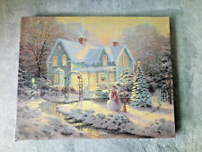 Thomas Kinkade Blessings of Christmas Oil Painting Wrapped Canvas 10x8 - Replica