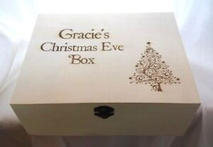 PERSONALISED CHRISTMAS EVE BOX engraved with any name wooden wood gift Xmas tree