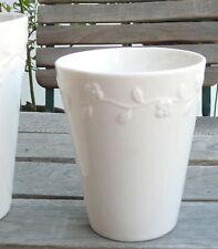 Sia Home Fashion - Blumentopf Übertopf in weiß mit Blumengirlande ♦ 12cm hoch