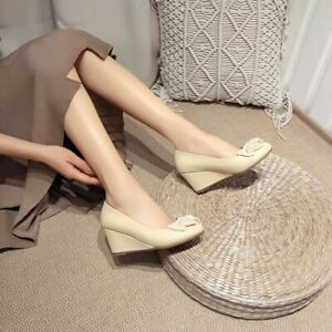 Womens Fashion Bows Round Toe Pumps Casual Wedge Mid Heels Dress Date Shoes Size