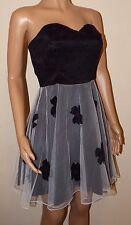 VICKY MARTIN floral white black net tutu prom strapless corset mini dress 8 BNWT