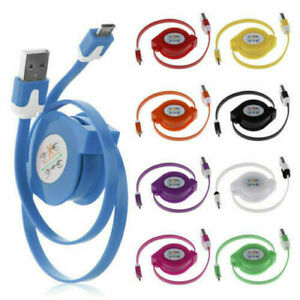 Micro USB Retractable Charger Charging Data Cable Lead Samsung S7 S6 Power Bank