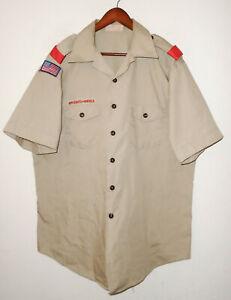 BOY SCOUTS Of America Insignia Uniform Shirt BSA Vtg USA Scout Adult Mens : XL