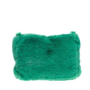 MIA BAG Faux Fur Clutch Bag Pouch Green Slouchy Design Zip Closure