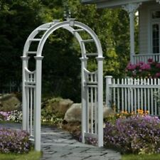 White Garden Arbor Entrance Arch Decor Back Yard Path Way Post PVC Outdoor  New