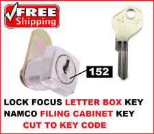 1x LETTER BOX KEY or NAMCO FILING CABINET  KEY CUT TO CODE LOCK FOCUS  L&F 0-400