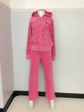 Juicy Couture Velour Tracksuit Size Age 6-8, Pink, Hoodie & Bottoms Vgc