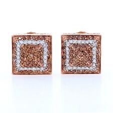 Cognac & White Diamond Pavé Stud Earrings - 10k Rose Gold Pierced Omega .50ctw