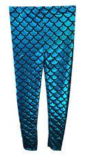 GIRLS METALLIC FISH SCALE LEGGINGS MERMAID KIDS SHINY FOIL CHILDRENS Turquoise