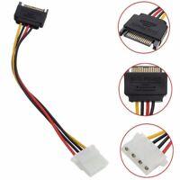 Stecker Buchse 4-polig Netzteiladapter Adapterkabel zu Molex IDE SATA 15-Poligs