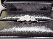 14K White Gold Engagement Ring w/ 11 Natural Stones; Size 7