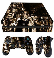 PS4 Slim Pelle Horror Collage SEPPIA Evil cattivi + Pad Decalcomanie in vinile NEW stendere