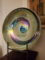"Yalos Casa Murano Art Glass Centerpiece Bowl Green Iridescent Swirl 16.5"""