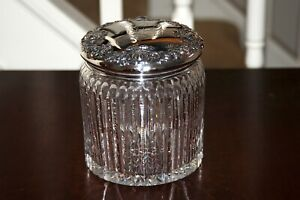 American Brilliant Cut Glass Cigar Humidor w Wilcox Sterling Silver Repousse Lid