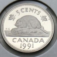 1991 Proof Canada 5 Five Cents Nickel Canadian Uncirculated Coin G336