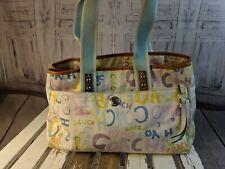 Coach purse Bag tote handbag nylon shoulder signature monogram spring white