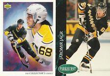Jaromir Jagr 2-card set: 1993 Parkhurst 135, 1992 Upper Deck Collector's 16, NM