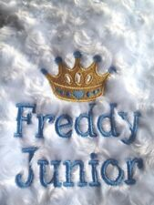 PERSONALISED Baby Blanket CROWN DESIGN Pink Blue Boys Girls