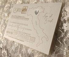 10 map vintage postcard wedding invites • destination/abroad • glitter heart