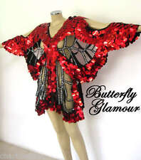 RED GLAM DIVA Drag Queen butterfly SEQUIN DANCE dress