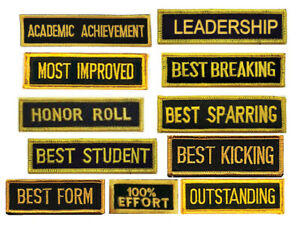 Martial Arts Achievement Patches, Best Form, kicking, Sparring, Breaking, Honor