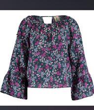 Ladies Japna Long Bell Sleeve Cold Shoulder Floral Multicoloured Blouse Size XL