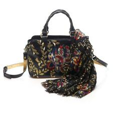 Patricia Nash Angelin Embroidered Leather Satchel with Matching Scarf Black New