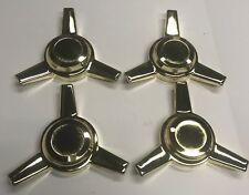 (4) Gold Wheel Knock Off 3 Bar Spinners Center Threaded
