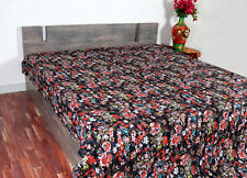 Kantha Quilt Twin Size Bedsheet Handmade Cotton Black Floral Bedspread Ralli