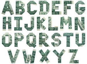 Money ORIGAMI LETTERS And DIGITS Real $1 Dollar Bill Alphabet Home Wall Decor