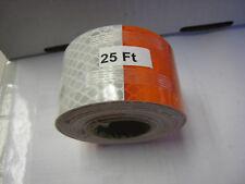 "3M BRAND 2"" x 25'  Roll WHITE & ORANGE  PRISMATIC REFLECTIVE CONSPICUITY TAPE"