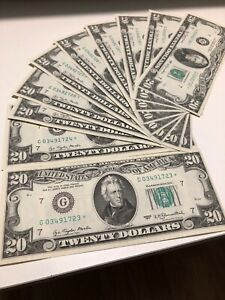 1977 $20 dollar bill Star notes 10 consecutive number uncirculated! EF Very Rare