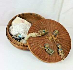 Antique Chinese Bamboo Sewing Basket with Antique Coin Adornments and Contents