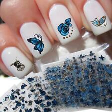3 Sheets (random) 3D Nail Sticker Blue Gold Silver Butterfly Flower Lace Decals