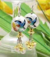 SALE 18mm White Round Cloisonne & White 6-7mm Natural Pearl Dangle earring-ea595