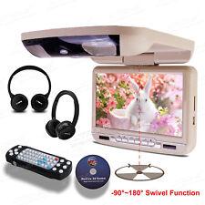 """9"""" Auto LCD Deckenmonitor mit DVD Player Flipdown FM BEIGE +2 IR Kopfhörer CR903"""