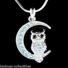 w Swarovski Crystal ~Blue Owl on Moon Hoot Bird Halloween Charm Pendant Necklace